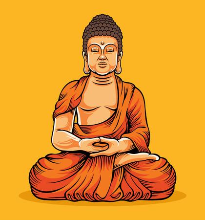 buddha statue: Buddha sitting. Statue of Buddha. Gold Buddha. Buddha vector illustration.Buddha composition.