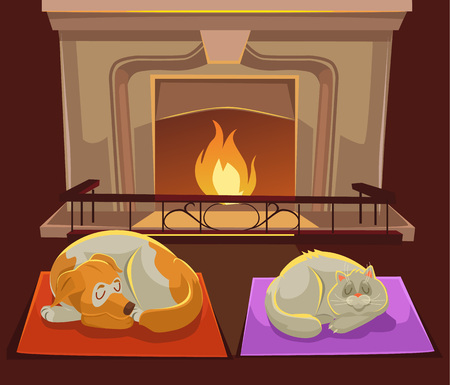cat sleeping: Cat and dog near fireplace. Vector flat cartoon illustration Illustration