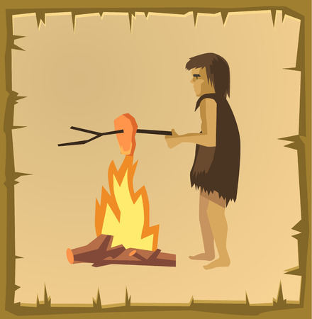 hombre prehistorico: hombre de las cavernas de cocción. Vector ilustración de dibujos animados plana Vectores