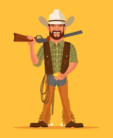 gunfighter: Cowboy. Vector flat cartoon illustration