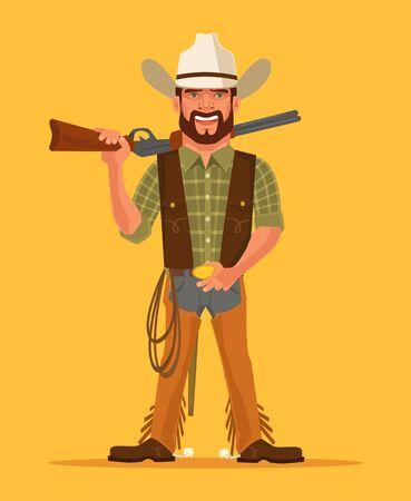 cowboy man: Cowboy. Vector flat cartoon illustration