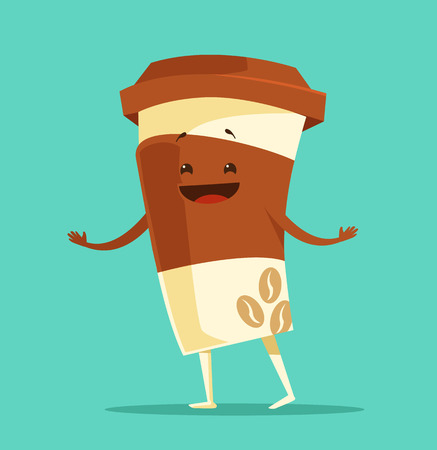 cappuccino: Cartoon cup of coffee. Cup of coffee dancing. Black coffee. Paper cup of coffee. Funny cup offee. Vector flat cartoon illustration Illustration