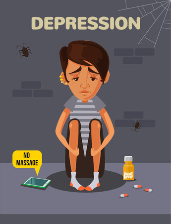 Depression boy. Vector flat cartoon illustration