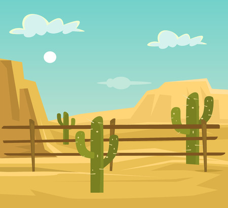scroller: Desert. Vector flat cartoon illustration