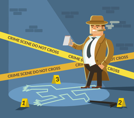 cordon: Detective at crime scene. Detective in hat. Crime scene with dead body and detective. Detective smoking. Crime street. Vector flat cartoon illustration