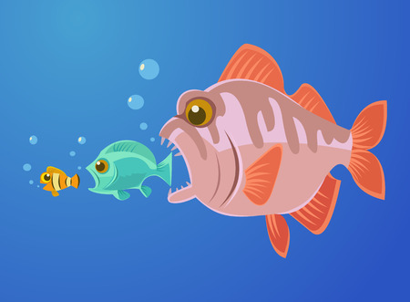 small size: Big fish eat small fish. Vector flat cartoon illustration