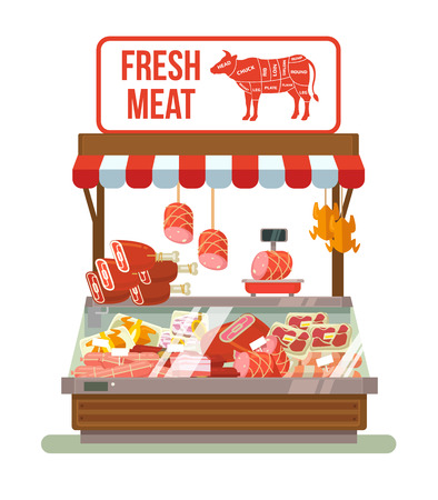 Fresh meat. Butcher shop. Shop with meat. Showcases with meat. Best meat. Red meat shop. Street market with meat. Vector flat cartoon illustration Vettoriali