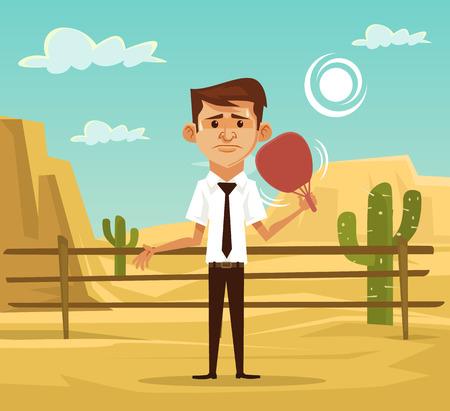 redness: Man in desert. Vector flat illustration