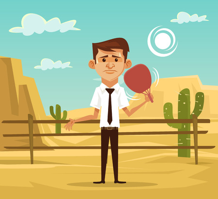 perspiration: Man in desert. Vector flat illustration