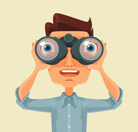 Man with binoculars. Vector flat cartoon illustration