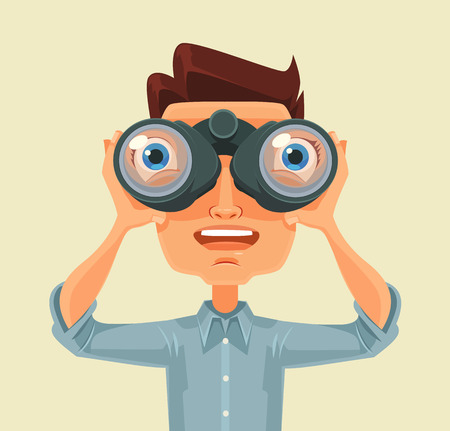 Man with binoculars. Vector flat cartoon illustration