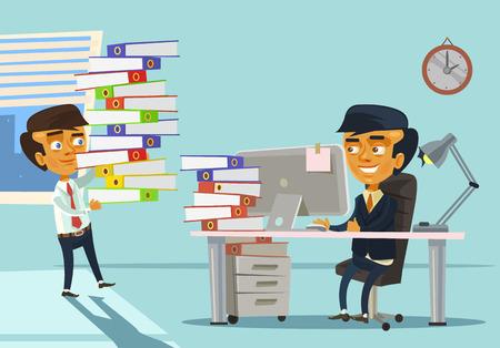 overloading: Happy worker has many works. Vector flat cartoon illustration