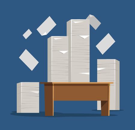 Tafel met stapel papieren. Vector platte illustratie