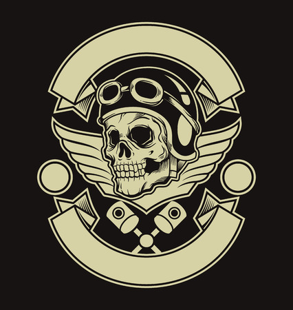 motors: Motor skull emblem. Vector flat illustration Illustration