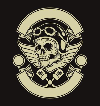 Motore cranio emblema. Vector piatta illustrazione