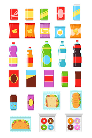 snack: Food and drink Packaging. Vector flat icon set Illustration