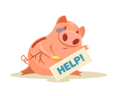 penniless: Poor piggy bank. Vector flat cartoon illustration