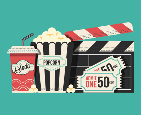 Retro movie flat cartoon lllustration Vectores