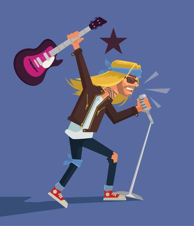 Rock star. Vector flat cartoon illustration Vetores