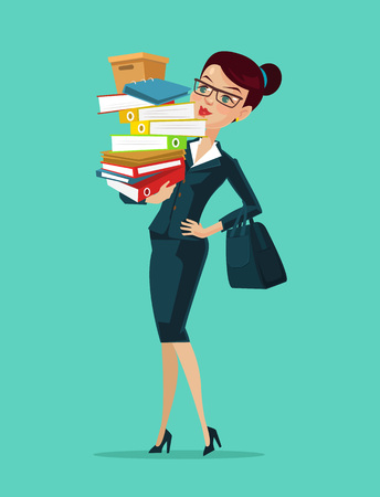 Woman secretary. Vector flat cartoon illustration