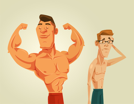 weak: Strong and weak men. Vector flat cartoon illustration