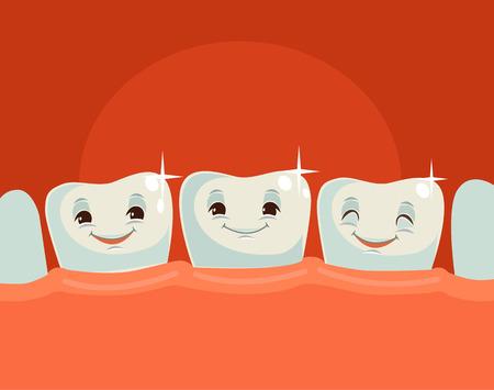 Glückliche gesunde Zähne. Vector flache Karikatur Illustration