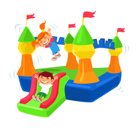 house illustration: Inflatable castle trampoline.