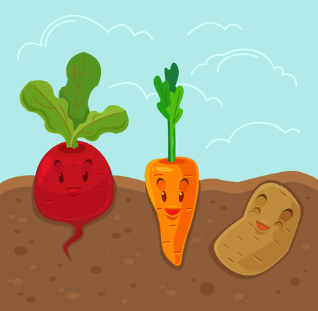 beet root: Cartoon funny vegetables. Vector flat illustration