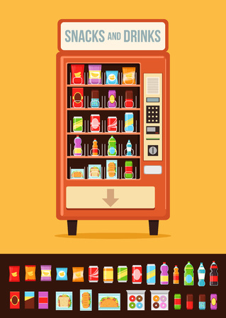 Vending machine with food.