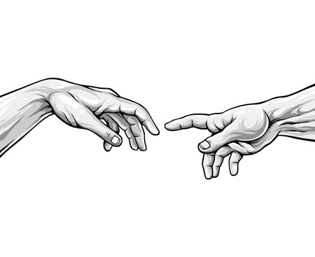 Adam hands. Black and white vector illustration