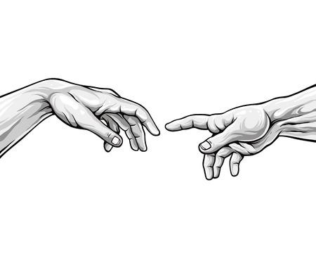 michelangelo: Adam hands. Black and white vector illustration