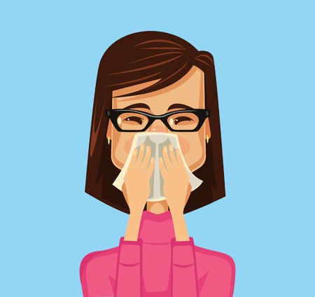sinusitis: Allergy woman. Vector flat illustration