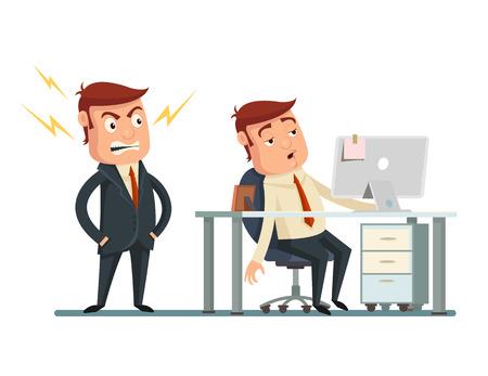 Boze werkgever. Vector flat cartoon illustratie