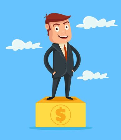 riches: Successful rich man. Vector flat cartoon illustration Illustration