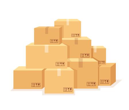 Carton boxes set. Vector flat cartoon illustration
