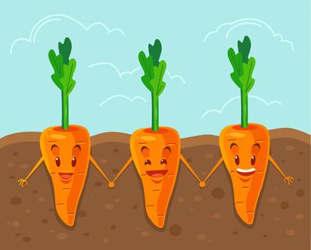 amistad: Zanahoria cultiva bajo tierra. Vector ilustración de dibujos animados plana