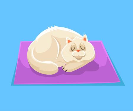 laying little: Sleeping cat. Vector flat cartoon illustration