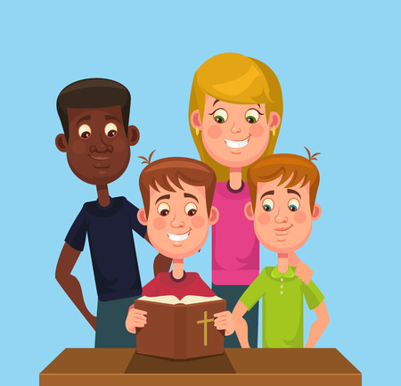 christian young: Children read the Bible. Vector flat cartoon illustration