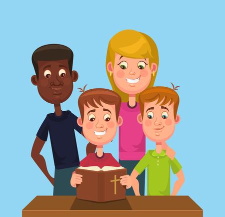 Kinderen lezen van de Bijbel. Vector flat cartoon illustratie