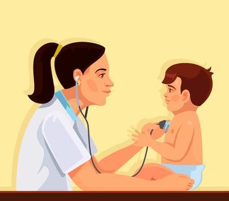 stethoscope boy: Pediatrician and child. Vector flat cartoon illustration Illustration
