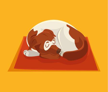 by the collar: Sleeping dog. Vector flat cartoon illustration Illustration