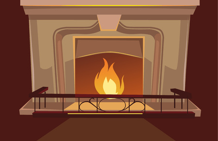pilasters: Fireplace vector flat cartoon illustration