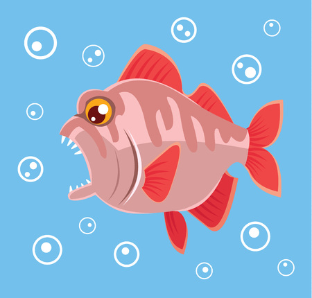 deepsea: Predatory fish. Vector flat cartoon illustration