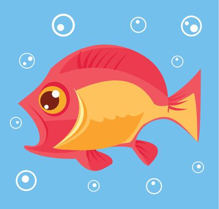 deepsea: Small fish. Vector flat cartoon illustration Illustration