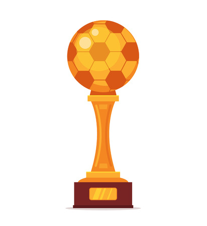 uefa: Football gold cup. Vector flat cartoon illustration