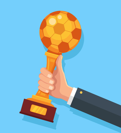 gold cup: Football gold cup in hand. Vector flat cartoon illustration