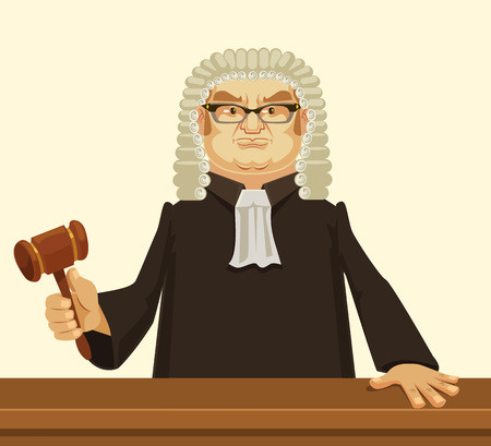 strict: Strict judge. Vector flat cartoon illustration