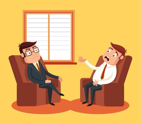 to sit: Psicólogo con el paciente. Vector ilustración de dibujos animados plana
