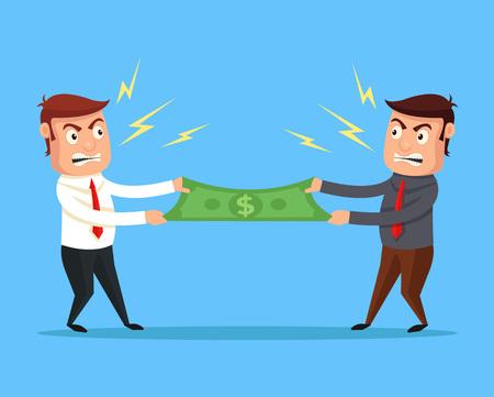 Men divide money. Vector flat cartoon illustration Illustration
