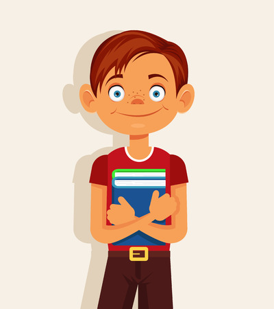 junior: Schoolboy with book. Vector flat cartoon illustration